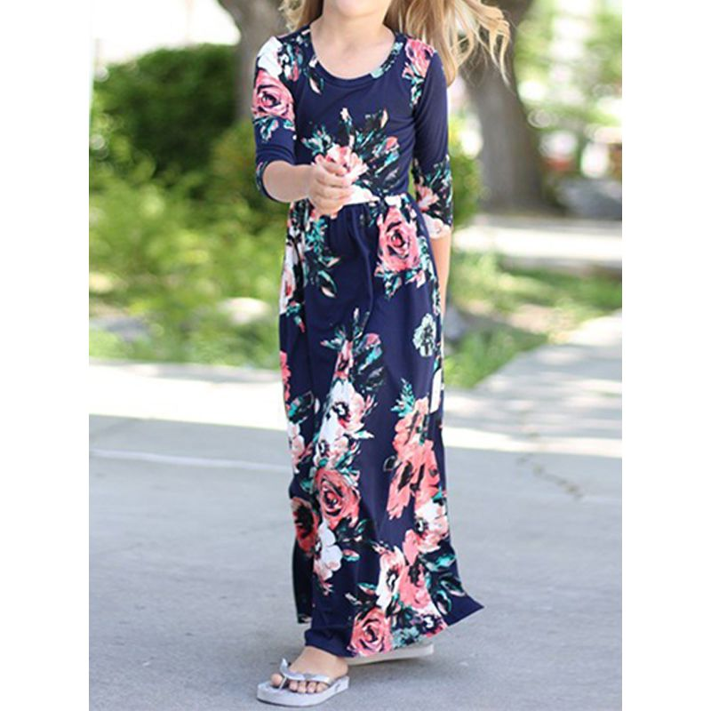 Kiskissing Girls Floral Royalblue Long Dress Half Sleeve Flowers Printed Long Dress For Babies Toddlers Girls wholesale toddler boutique clothing