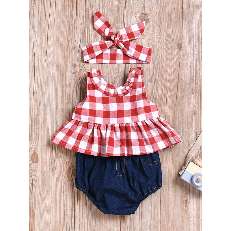 Kiskissing 3-piece Plaid Gingham Dress-like Top Shorts Set Sleeveless Bowknot Top Denim Panties for Babies Girls wholesale baby clothes the obverse side