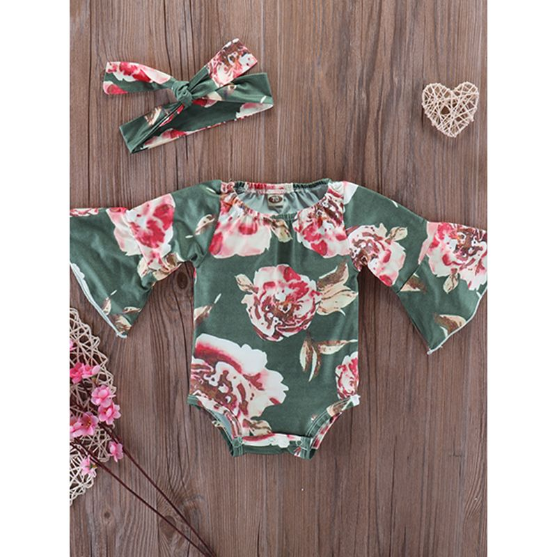 Kiskissing Trumpet Sleeves Floral Romper Green Flowers Printed Romper Bodysuit For Babies Girls Boys wholesale baby onesies