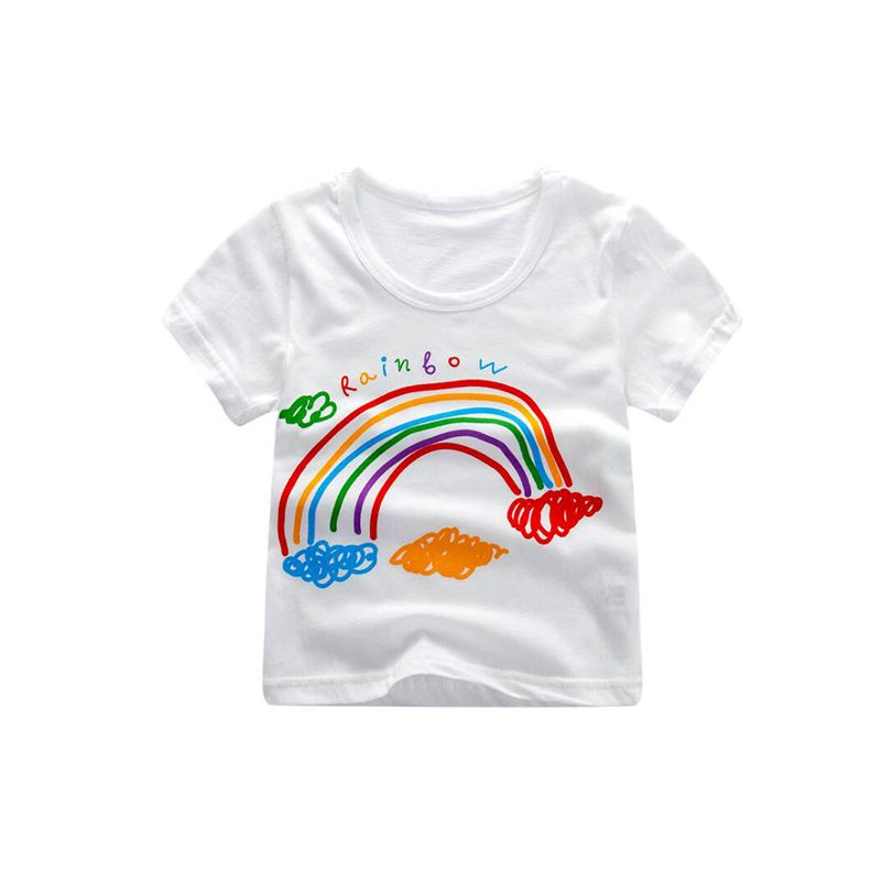 Kiskissing Cartoon Print Cotton Tee Top T-shirt Short-sleeve for Toddlers Girls Boys toddler t shirts wholesale