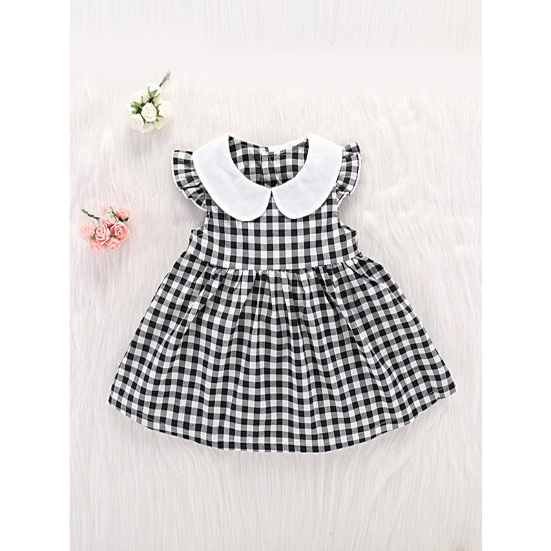 29c92de52 Kiskissing Cap Sleeves Plaid Gray Dress Peter Pan Collar Cotton For Babies  Girls wholesale little girl