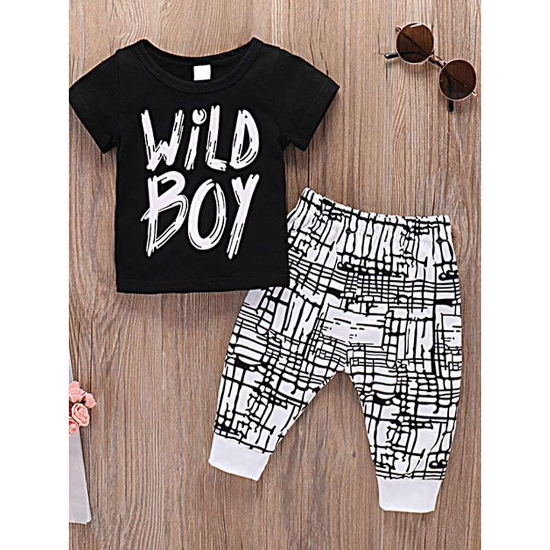 Kiskissing 2-piece Baby Set Wild Boy Letters Black T Shirt Lycra Striped Pants For Babies Boys kids wholesale clothing