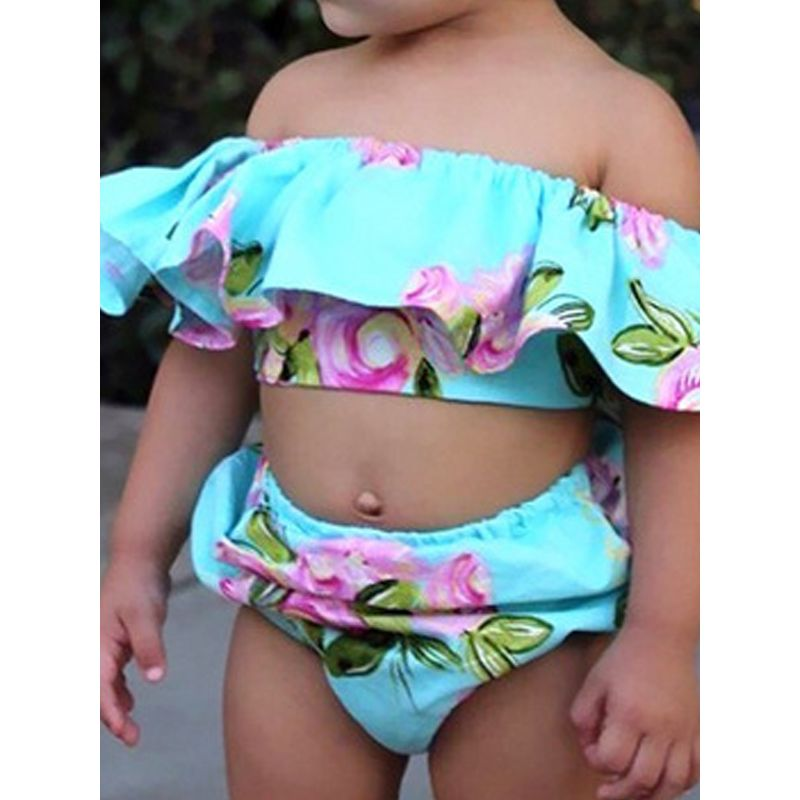 Kiskissing 3-piece Top Pants Headband Baby Set Floral Off Shoulder Cap Sleeves Green Top For Babies Girls children's boutique clothing wholesale the model show