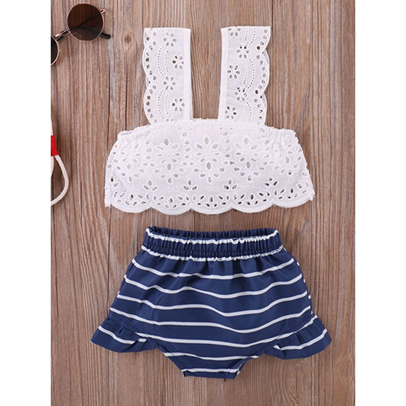 Kiskissing 2-piece Baby Set Hollow-out Strapped White Top Striped Panties For Babies Girls wholesale baby clothes
