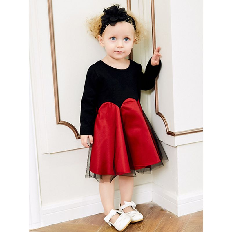 Kiskissing Splicing Knitted Dress Long Sleeves Tulle Princess Dress For Babies Toddlers Girls the model show wholesale little girl clothing
