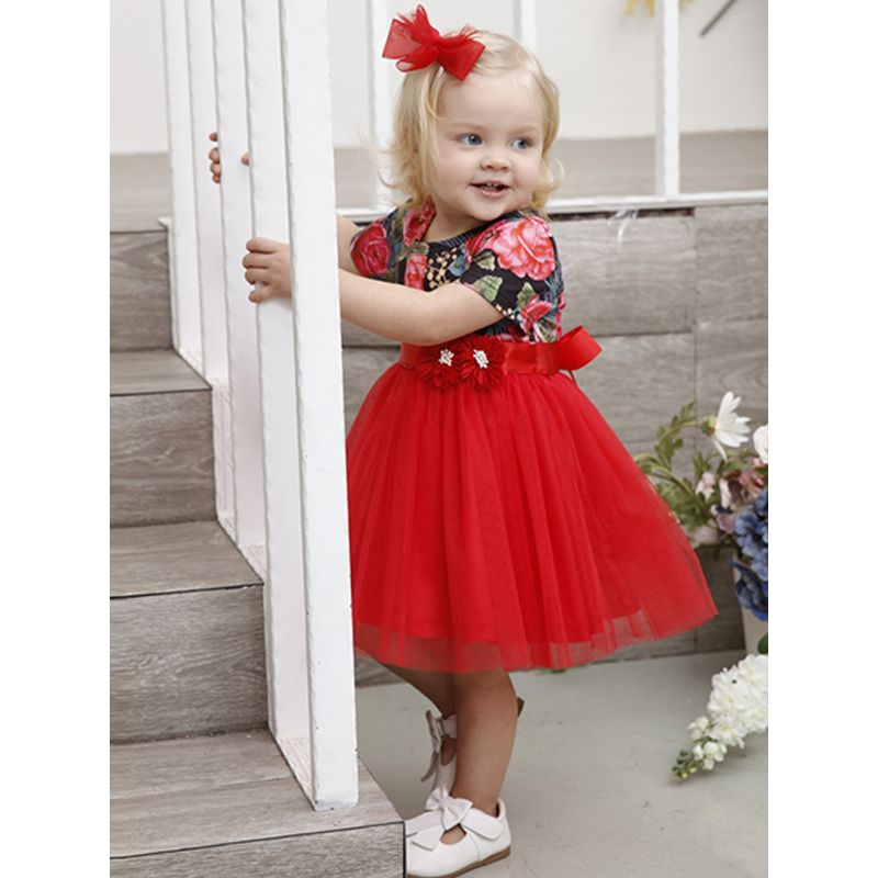 Kiskissing Floral Tutu Dress Bowknot Mesh Legging Princess Dress For Babies Toddlers Girls the model show wholesale princess dresses