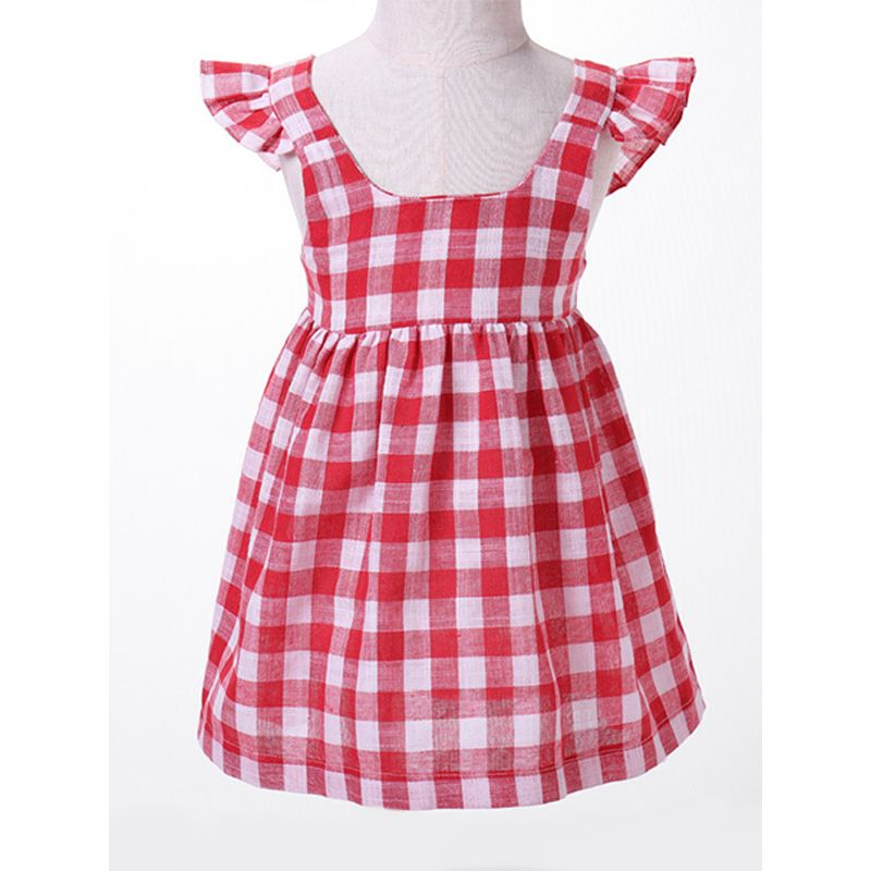 Kiskissing Red Plaid Baby Dress Cap Sleeves Cotton Dress For Babies Toddlers Girls children's boutique clothing wholesale