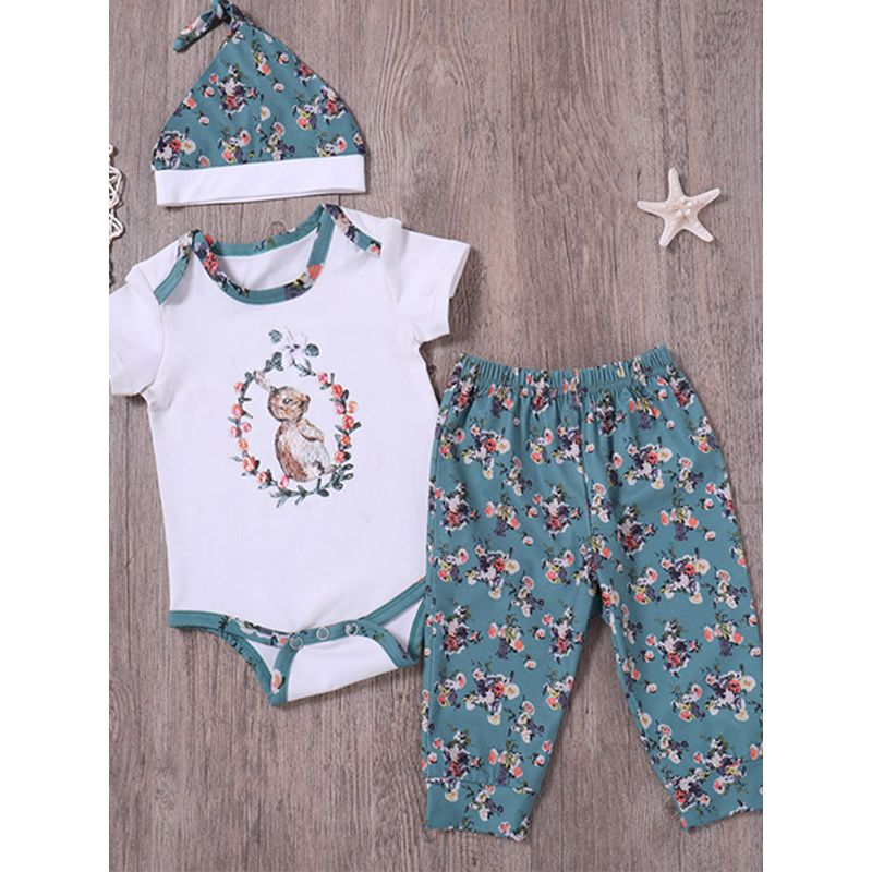 Kiskissing 3-piece Hat Top Pants Set Short Sleeves Rabbit Top Flowers Printed Trousers For Babies Toddlers Boys Girls the obverse side children's boutique clothing wholesale