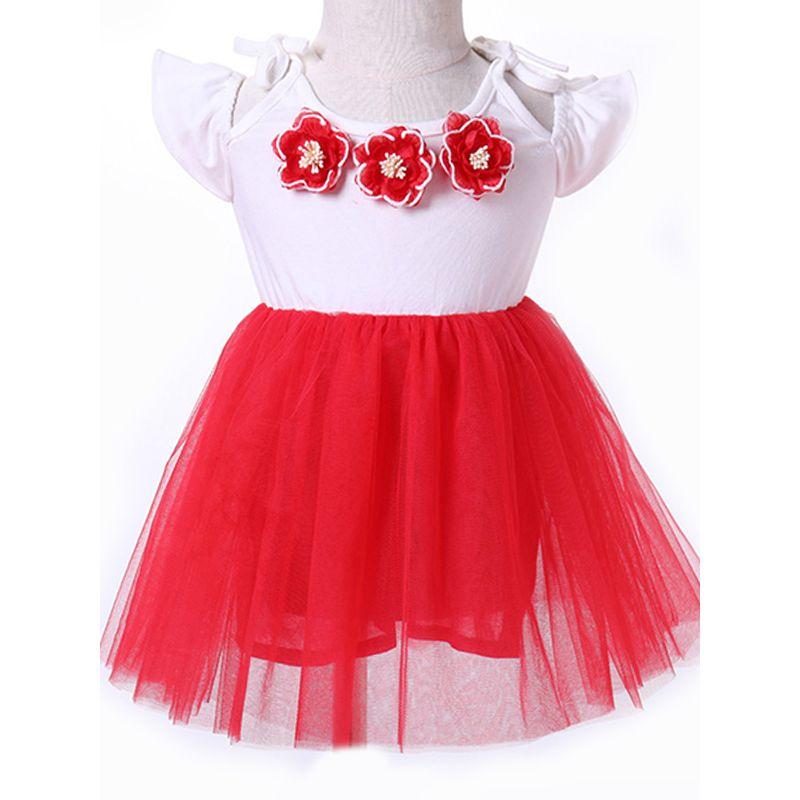 Kiskissing Cute 3D Flowers Tulle Dress Cap Sleeves Grenadine Princess Dress For Toddlers Girls the obverse side wholesale princess dresses