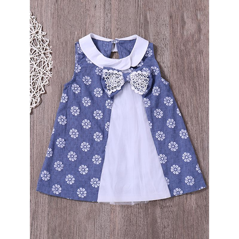 Kiskissing Floral Printed Color Matching Baby Dress Sleeveless Bowknot Tulle Dress For Toddlers Girls the obverse side wholesale baby dresses