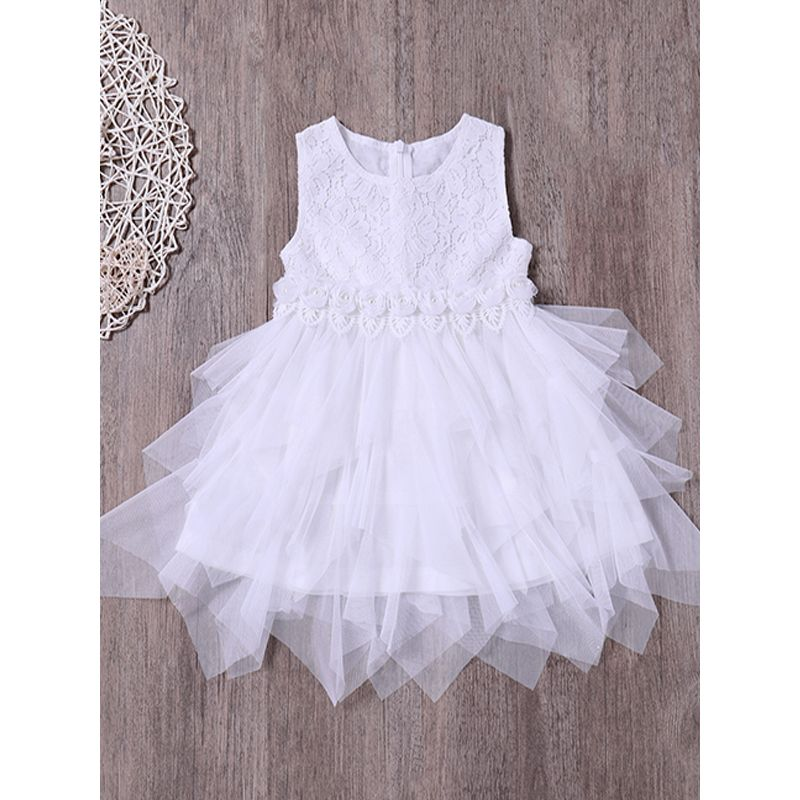 Kiskissing Polyster Little Girls Princess Dress Bowknot Sleeveless Tulle Lace Dress For Toddlers Girls wholesale children's boutique clothing the obverse side
