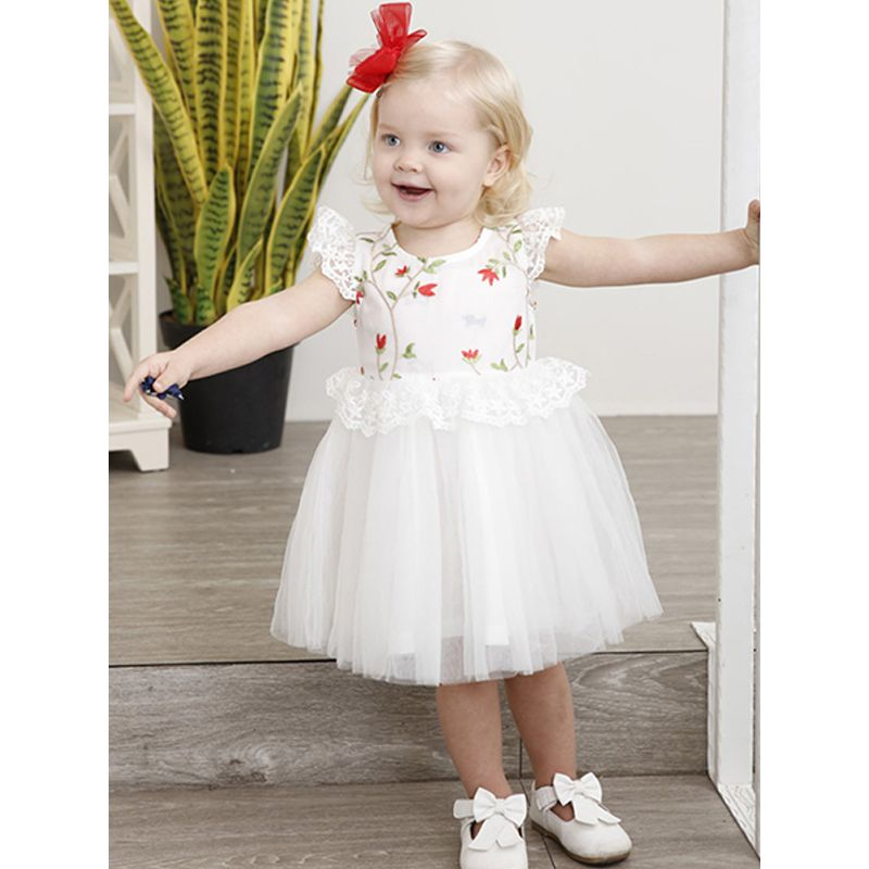 Kiskissing Embroidered Tulle Fashion Lace Princess Dress Cap Sleeves For Toddlers Girls the model show wholesale princess dresses