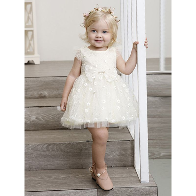 New Style Mesh Princess Dress Cap Sleeves Bowknot Lacework For Toddlers Girls