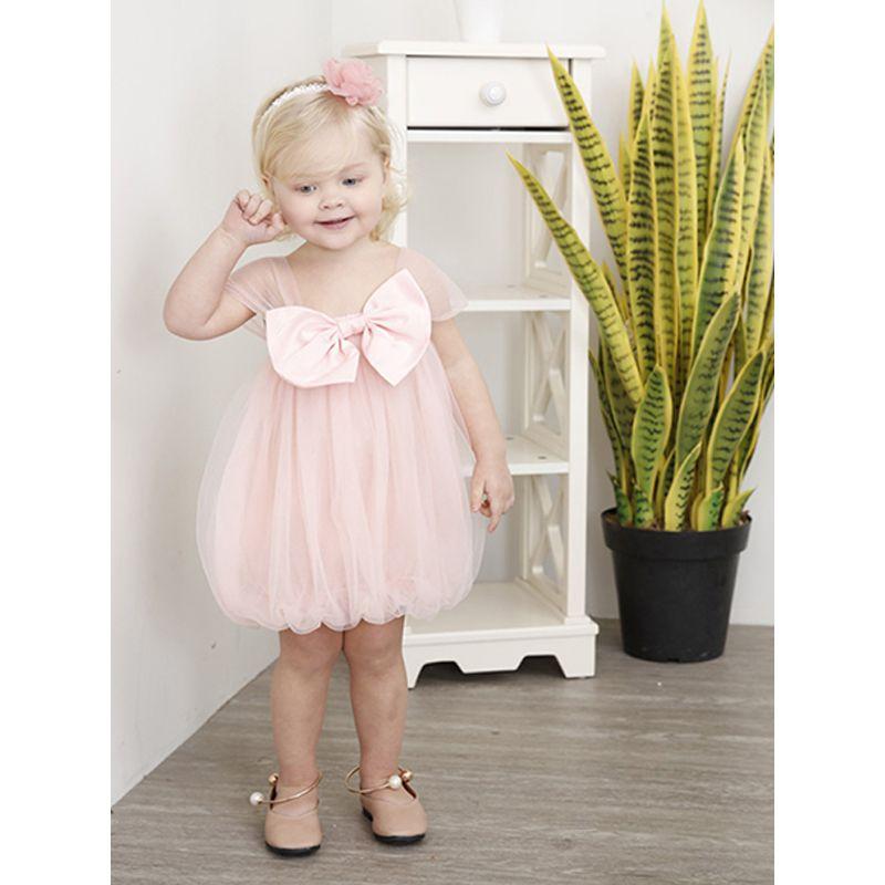 Kiskissing Cute Little Girls Sundress Cap Sleeves Bowknot Tulle Dress For Toddler Girls the model show kids wholesale clothing