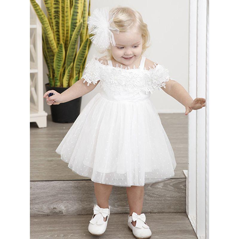 Kiskissing Off Shoulder Suspenders Girls Vest Princess Dress For Toddlers Girls the model show wholesale princess dresses