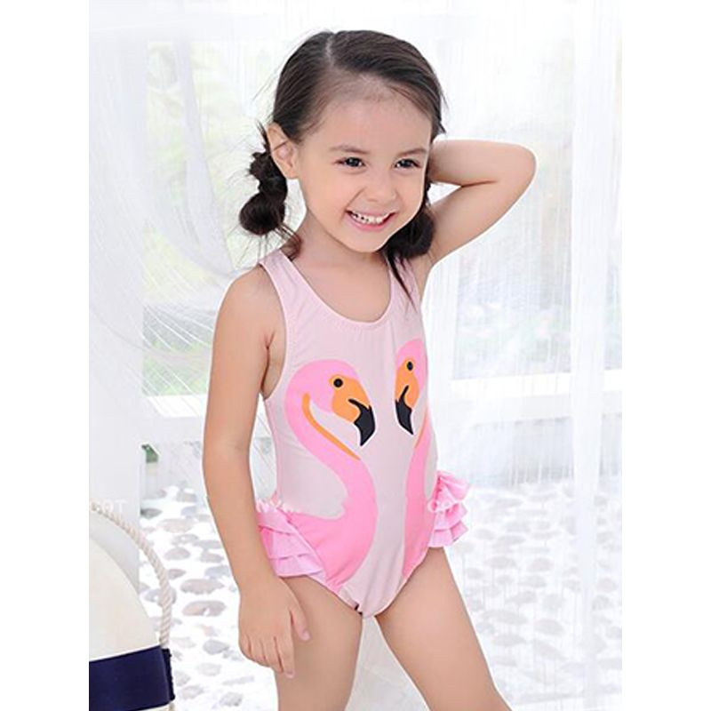 191ed53bae1 Kiskissing pink 2-piece Swans Pattern Swimwear Set Strapped Bikini Cap Hot  Spring Clothing For