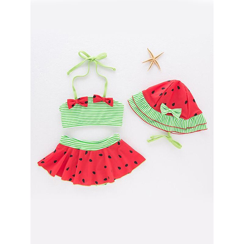 Kiskissing 3-piece Watermelon Pattern Girls Swimsuit Set Cap Bowknot Top Shorts Tankinis For Toddlers Girls wholesale kids boutique clothing the obverse side