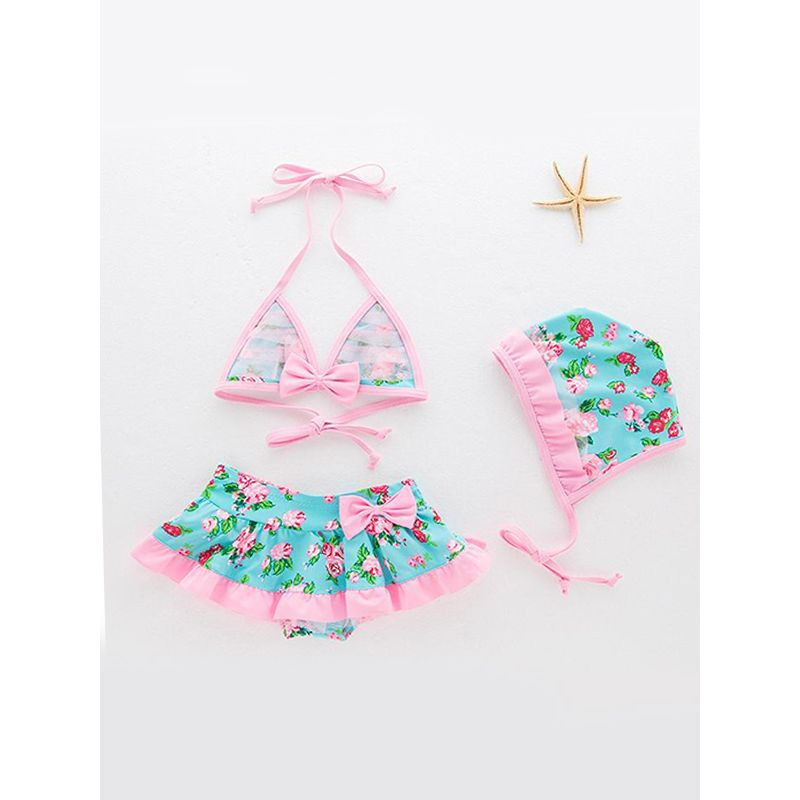 Kiskissing 3-piece Cute Hat Top Skirt Swimsuit Set Floral Printed Swimwear For Toddlers Girls wholesale kids swimwear the obverse side