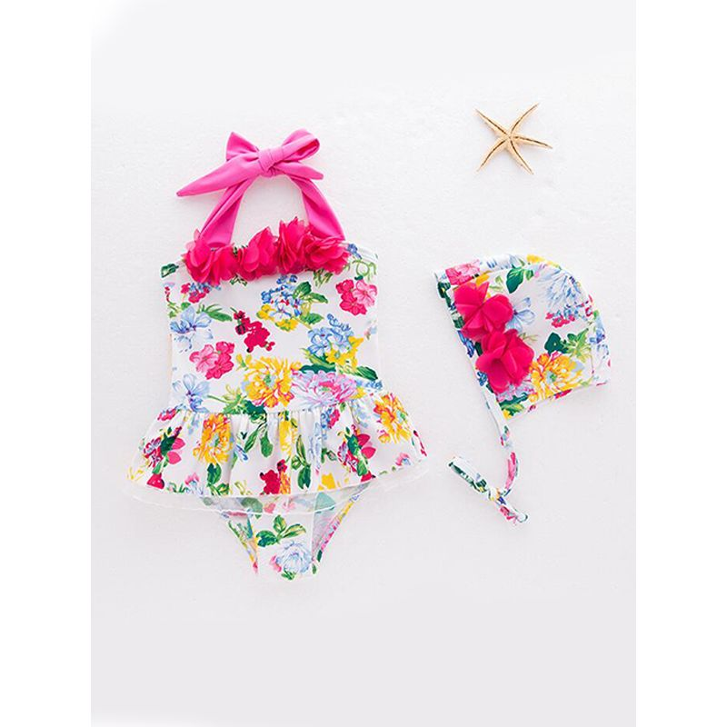 Kiskissing 2-piece Hat 3D Red Flowers Swimsuit Floral Printed One-piece Strapped Swimwear For Toddlers Girls the obverse side wholesale kids swimwear