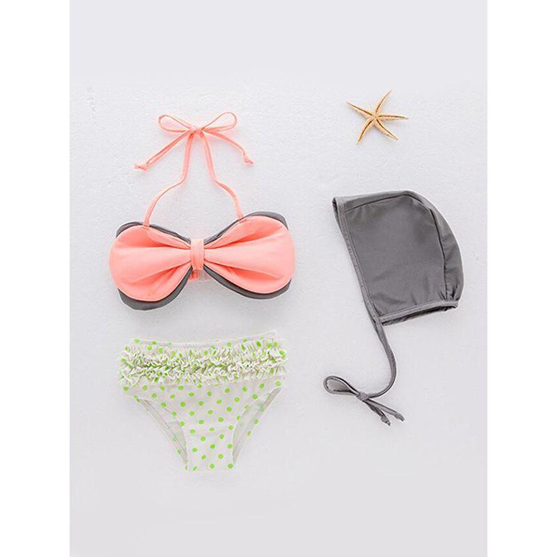 Kiskissing 3-piece Big Bowknot Swimsuit Set Gray Hat Strapped Top Polka Dots Panties Swimwear For Toddlers Girls wholesale kids swimwear