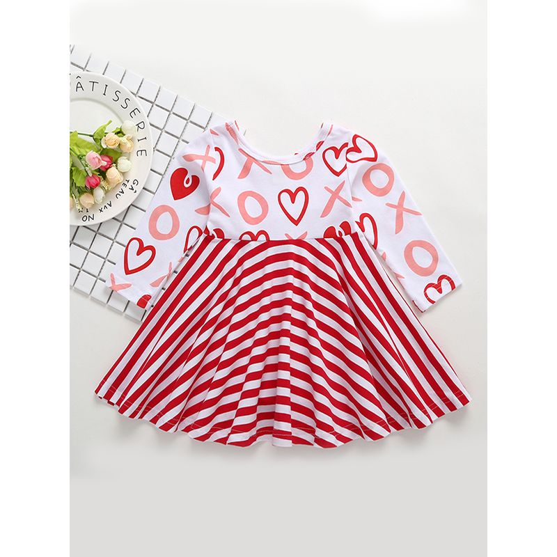 Kiskissing Hot Sale Kids Stripes Pleated Dress Long Sleeves Printed Splicing Cotton Dress For Toddlers Girls toddler girl wholesale dresses