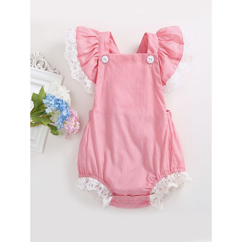8b198b4f8 Wholesale Hot Sale Lace-trimmed Splicing Baby Romper