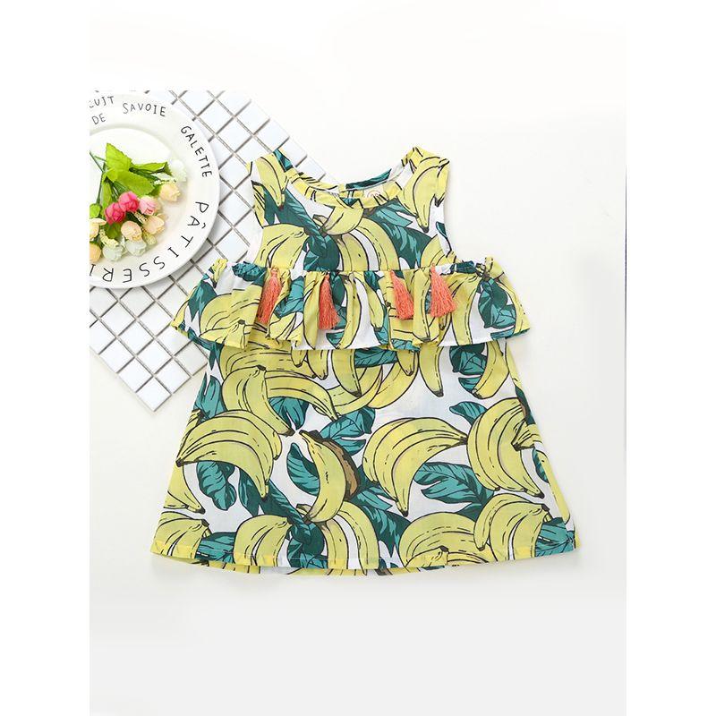 Kiskissing Hot Sale Banana Printed Tassels Splicing Hemline Dress For Baby Toddler Girls the obverse side wholesale kids clothing suppliers