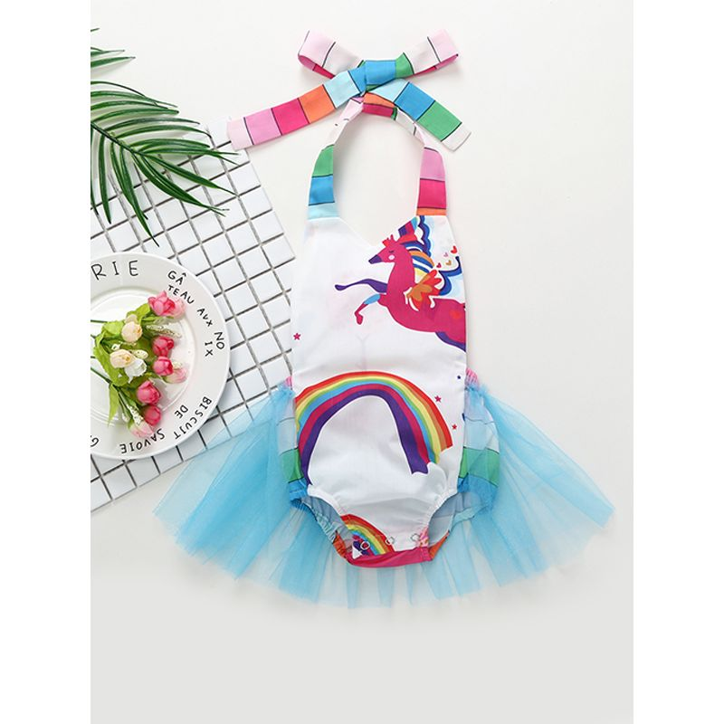 Kiskissing Hot Sale Cartoon Rainbow Unicorn Printed Tulle Romper Bodysuit For Baby Girls wholesale baby clothes