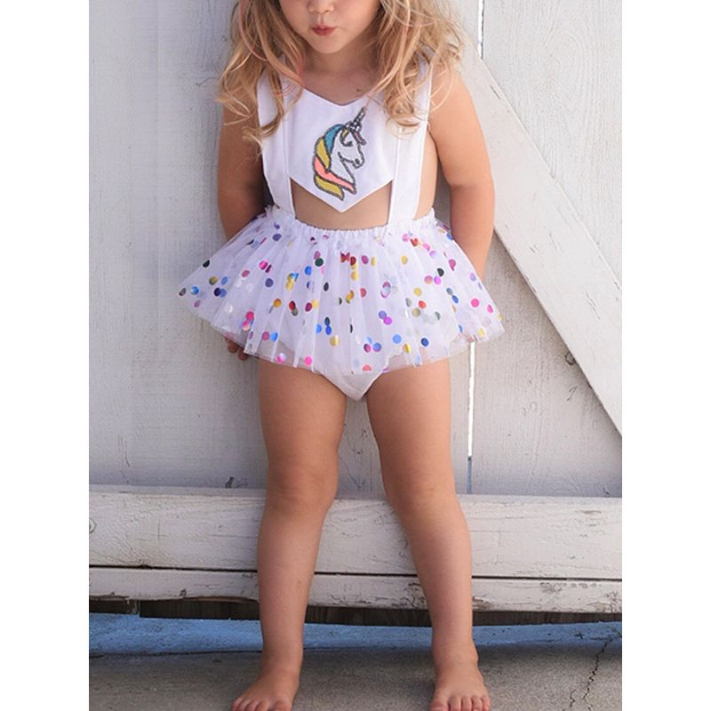 Kiskissing Hot Sale Unicorn Rainbow Printed Romper Tulle Skirt For Baby Girls the model show wholesale baby onesies
