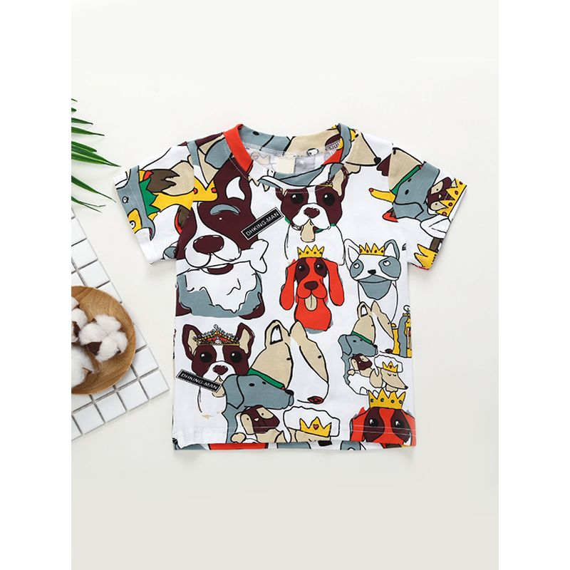 Kiskissing white Hot Sale Cartoon Dog Printed Round Collar Top T Shirt For Baby Toddler Boys Girls wholesale baby clothes suppliers the obverse side