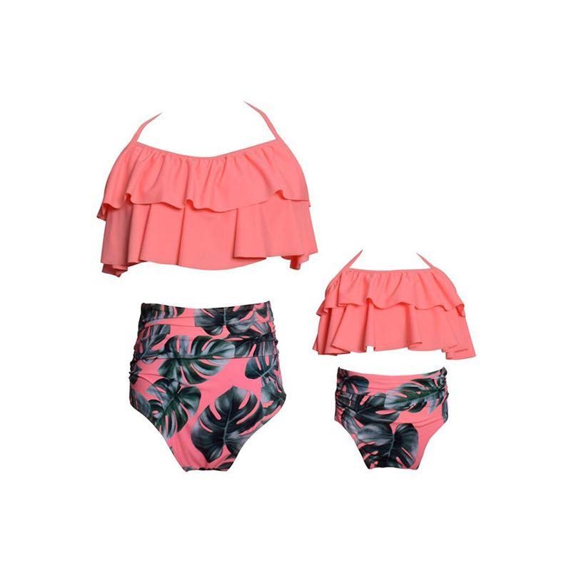 Family Matching Mom Elastic Flouncing Bikini Set Top Shorts Dots Print Strapped