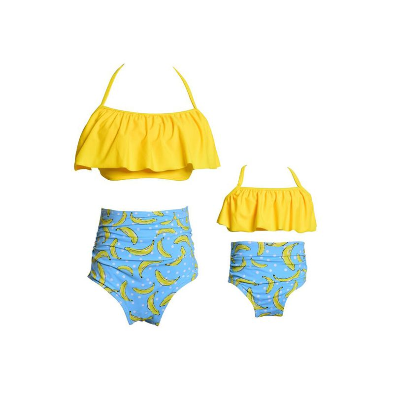 Kiskissing Family Matching Girls Daughters Elastic Bikini Set Top Shorts Dots Print Strapped wholesale family clothes