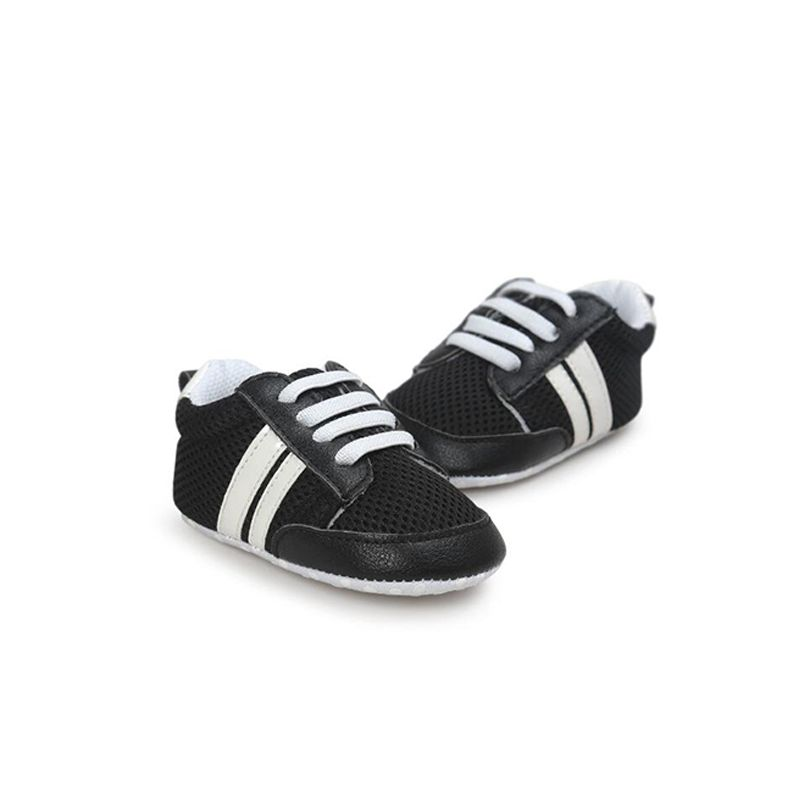 Kiskissing black Soft Soled Artificial PU Shoes Sneakers Skidproof Breathable Pre-walking for Baby Boys Girls