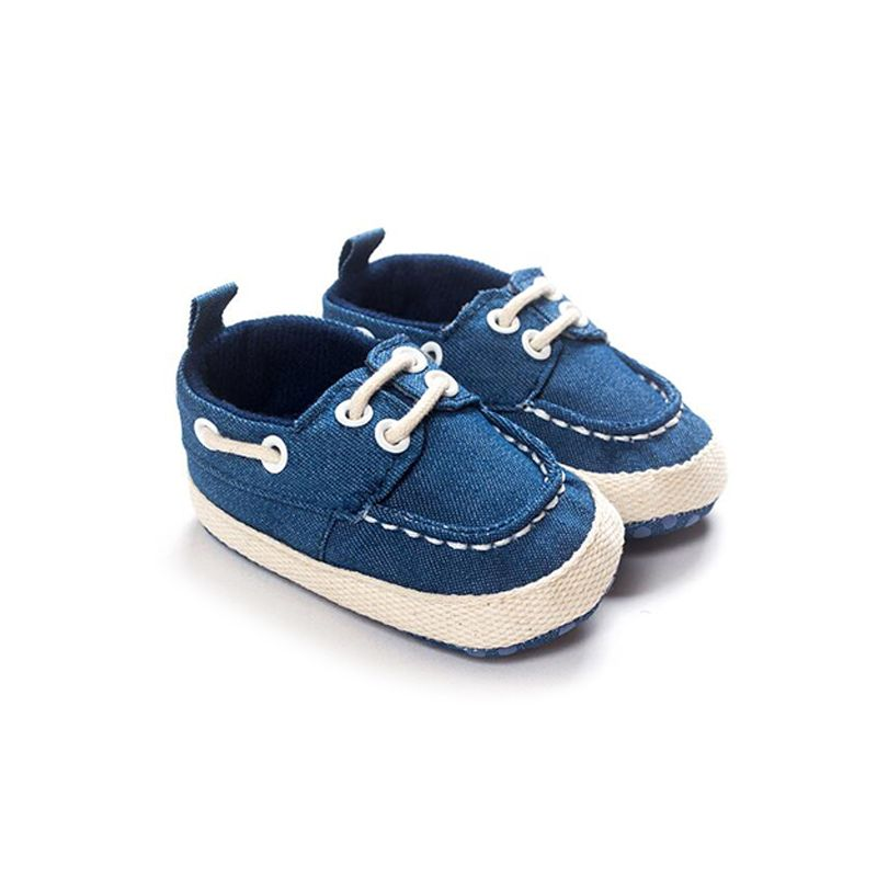 Kiskissing Lace-up Soft-soled Canvas Crib Shoes Antiskid Pre-walking for Baby Boys Girls wholesale baby footwear