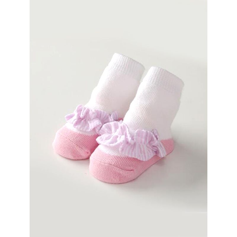Kiskissing Cute Pink Striped Bowknot Socks Breathable Sweat Absorbing Cotton For Baby Girls wholesale baby accessories