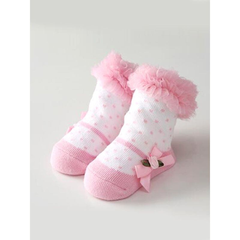 Kiskissing pink Tulle Polka Dots Cute Baby Socks Color Matching Breathable For Babies baby socks wholesale