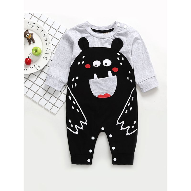 Kiskissing Cute Cartoon Little Monster Print Romper Cotton Long-sleeve Jumpsuit for Baby Boys the obverse side wholesale baby onesies