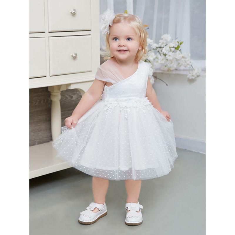 Kiskissing Sloping Shoulder Cotton Lining Princess Dress Bowknot Tulle Polka Dots For Toddler Girls wholesale princess dresses