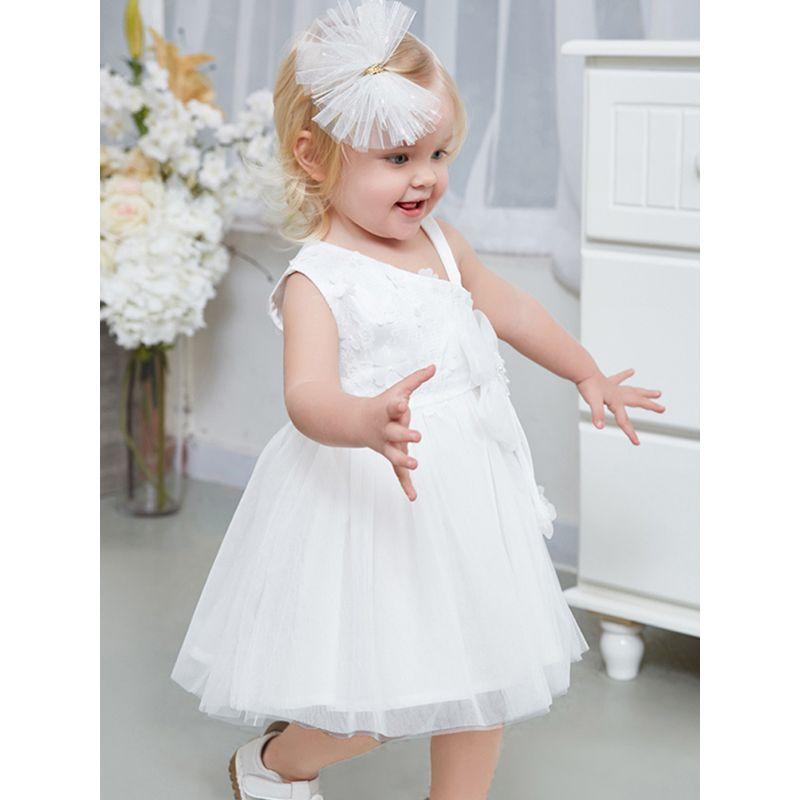 Kiskissing Oblique Shoulder Flower Girl Bubble Dress One-strap Tulle For Toddler Girls trendy kids wholesale clothing