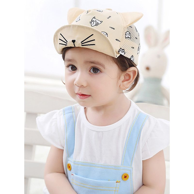 Kiskissing beige Cat Pattern Embroidered Printed Sunhat Peaked Cap Solid Color Mesh For Babies Toddlers wholesale children's accessories