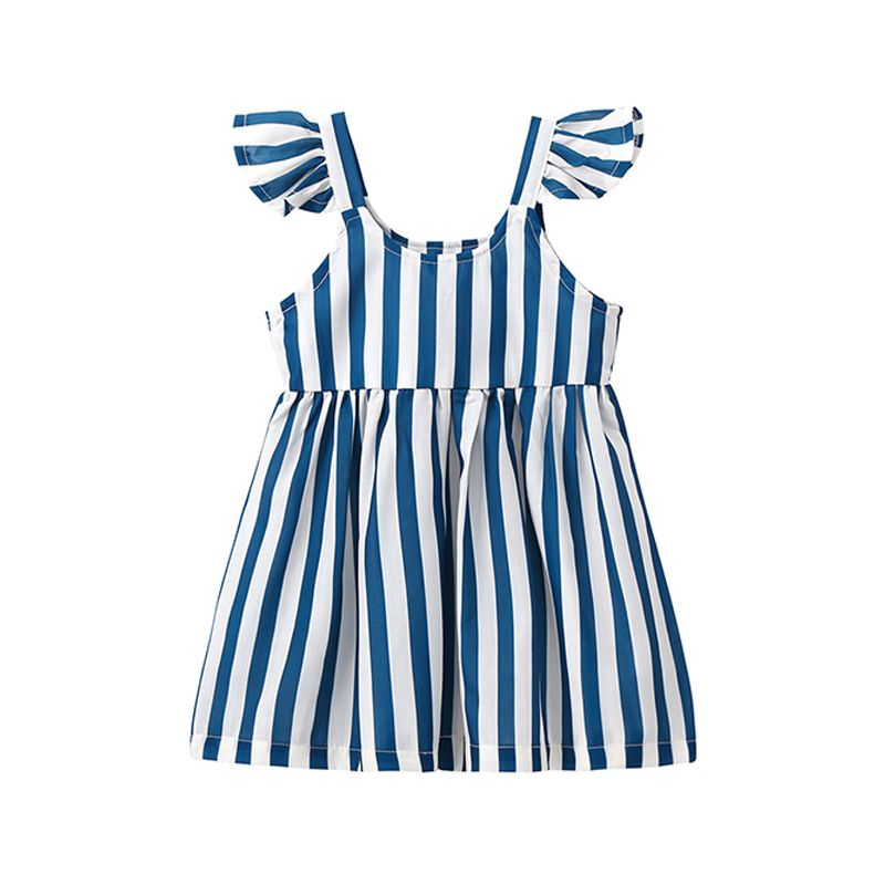 Kiskissing Sleeveless Striped Pleated Cotton Dress Strapped for Baby Toddler Girls the obverse side wholesale baby clothes suppliers