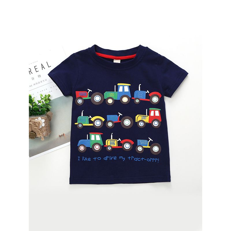 Kiskissing Cool Tractors Print Cotton Tee T-shirt Short-sleeved Top for Baby Toddler Boys the obverse side trendy toddler clothes wholesale