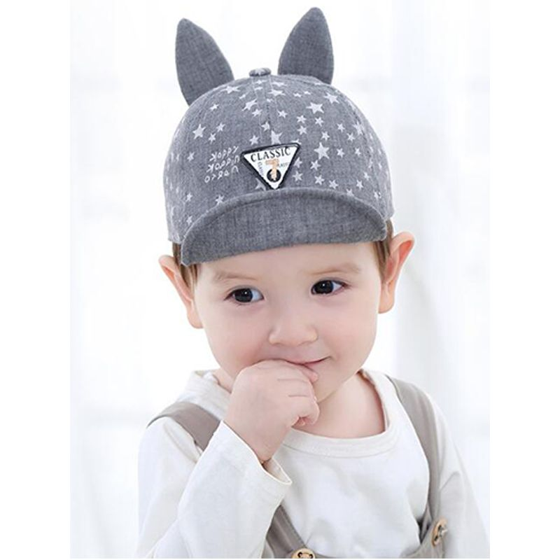 Kiskissing grey Hot Sale Stars Printed Rabbit Ears Peaked Cap Soft Brim Baseball Cap For Babies Toddlers wholesale baby accessories
