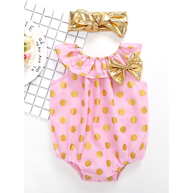 Kiskissing pink 2-piece Dots Print Romper Headband Set Bodysuit for Baby Girls wholesale baby clothes