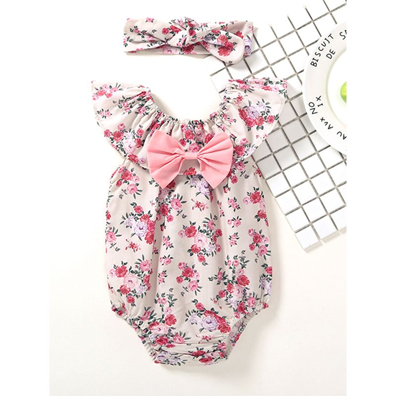 Kiskissing 2-piece Floral Bow-knot Romper Headband Set Bodysuit Sleeveless for Baby Girls the obverse side wholesale baby onesies