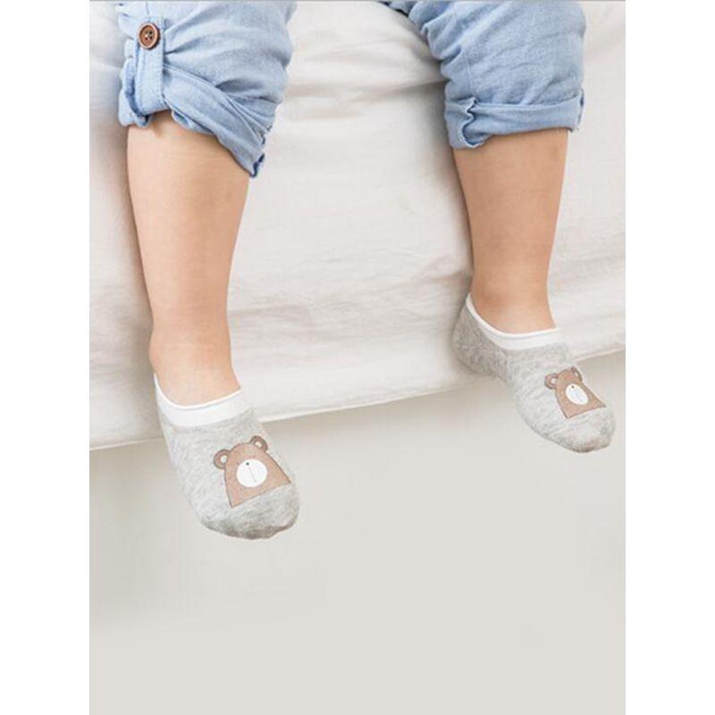 Heat Seal Backing Antiskid Baby Room Socks Cartoon Printed Cotton Ankle Socks For Babies