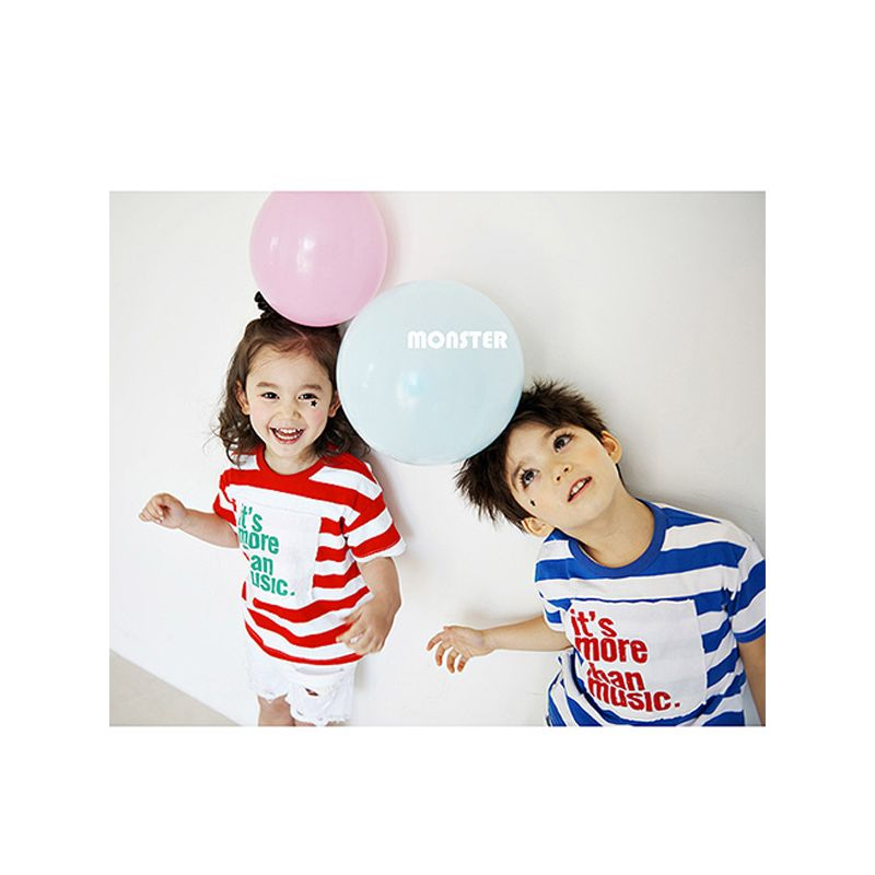 Kiskissing Letters Appliqued Striped Cotton Tee Short-sleeve Top T-shirt for Toddlers Boys Girls the model show trendy kids wholesale clothing