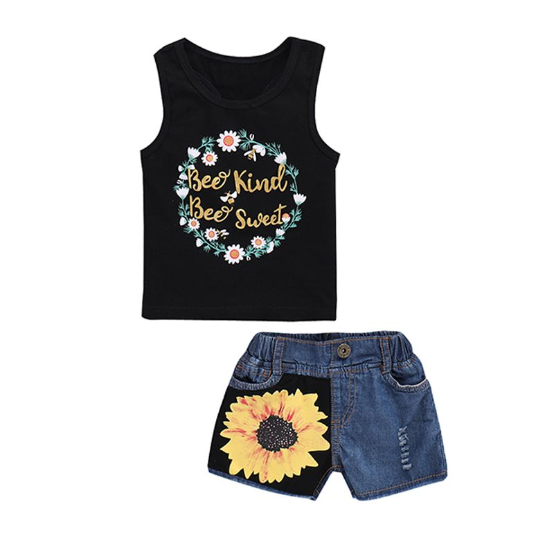 Kiskissing 2-piece Printed Top Short Toddlers Set Letter Floral Print T Shirt Sunflower Denim Shorts the obverse side wholesale kids clothing suppliers