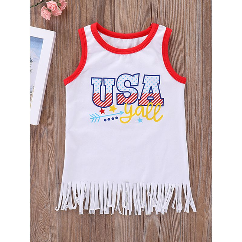 Kiskissing USA Independence Day Print Top Sleeveless White Lycra Cotton T-shirt For Toddlers Girls the obverse side baby t shirts wholesale