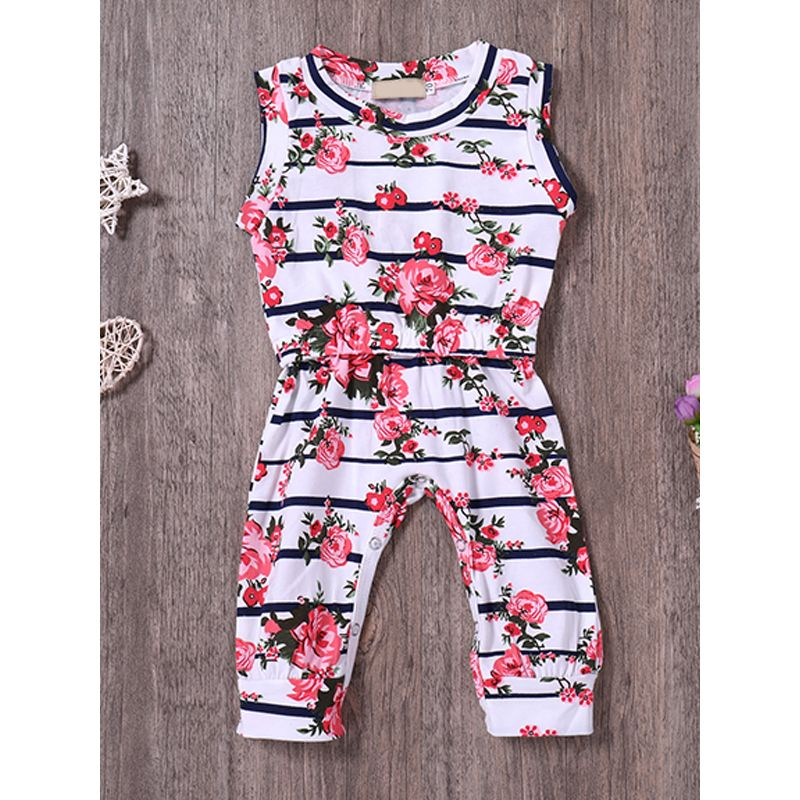 Kiskissing Floral Print Onesies Baby Romper Sleeveless Jumpsuit Pink Rose Flowers Print For Baby Girls the obverse side wholesale childrens clothing